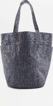 Urban Outfitters , Striped Straw Beach Tote Bag