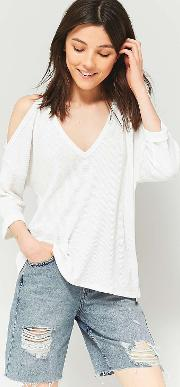 Cooperative By Urban Outfitters , Urban Outfitters Long Sleeve Cold Shoulder Waffle Top