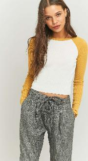 Cooperative By Urban Outfitters , Urban Outfitters Cropped Raglan Baseball Top