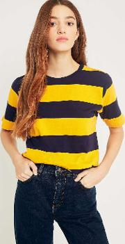Urban Outfitters , Uo Rugby Yellow And Navy Striped T Shirt