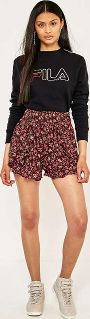 Ecote , Red Floral Smocked Ruffle Beach Shorts