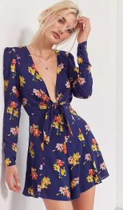 Kimchi Blue , Maddie Plunging Tie Front Playsuit