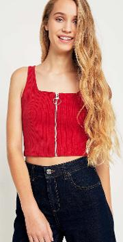 Urban Outfitters , Uo Zip Front Ribbed Cropped Cami