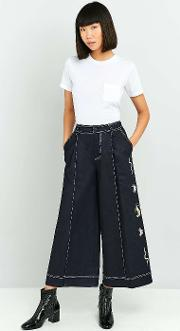 Angel Chen , Embroidered Denim Trousers, Navy