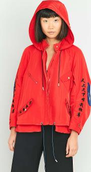 Angel Chen , Embroidered Red Cropped Windbreaker Jacket, Red