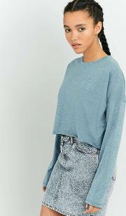 Bdg , Batwing Long Sleeve Cropped Top, Blue