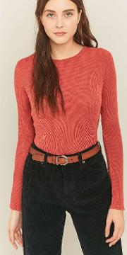 Bdg , Long Sleeve Waffle Knit Top, Red