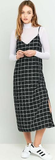 Cooperative By Urban Outfitters , Urban Outfitters Black Checked Midi Slip Dress
