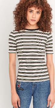 Cooperative By Urban Outfitters , Urban Outfitters Neat Cream Striped Ribbed T Shirt