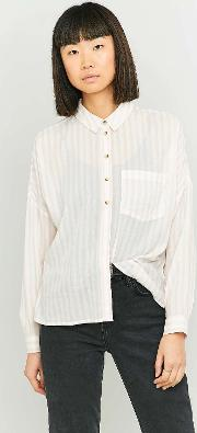 Cooperative By Urban Outfitters , Urban Outfitters Pink Twill Striped Button Down Shirt