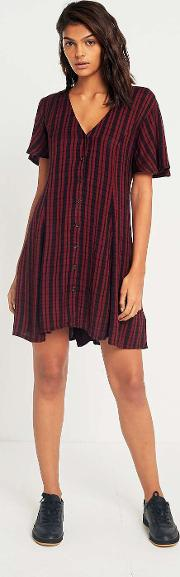 Cooperative By Urban Outfitters , Urban Outfitters Red Checked Lace Up Day Dress