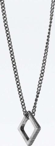 Icon Brand , Time Squared Silver Finish Necklace, Silver
