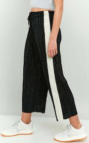 Light Before Dark , Awkward Length Side Stripe Plisse Trousers, Black & White