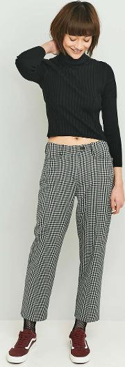 Light Before Dark , Gingham Slim Straight Leg Trousers, Grey