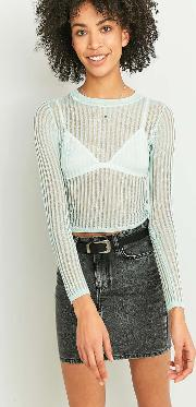 Light Before Dark , Sheer Ladder Crew Neck Top, Mint