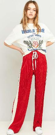Light Before Dark , Side Striped Pleated Red Puddle Trousers, Red