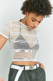 Light Before Dark , Striped Fishnet Top, White