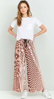 Light Before Dark , Velvet Plisse Wide Leg Trousers, Pink