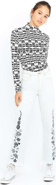 Mademe , Printed Stone Washed Blue Flared Jeans