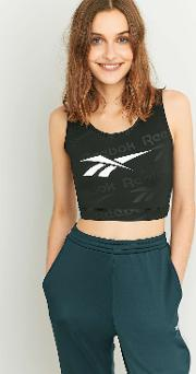 Reebok , Black Logo Crop Top, Black