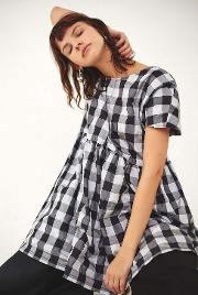 Rework By Urban Outfitters , Black And White Gingham Babydoll Dress, Black & White