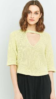 Silence  Noise , Silence Noise Maddie Open Front Crop Top, Yellow