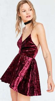 Silence  Noise , Silence Noise Vanessa Crushed Velvet Fit And Flare Playsuit, Maroon