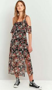 Staring At Stars , Floral Ruffle Cold Shoulder Maxi Dress, Black Multi