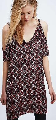 Staring At Stars , Printed Cold Shoulder Burgundy Dress, Plum