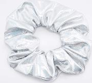 Urban Outfitters , Holographic Silver Scrunchie Hair Band
