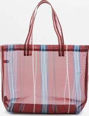 Urban Outfitters , Red Striped Mesh Tote Bag, Red