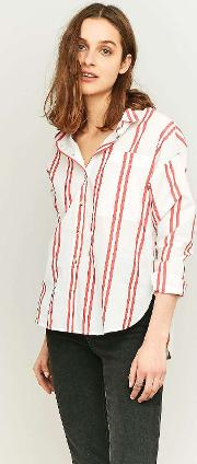 Cooperative By Urban Outfitters , Urban Outfitters Double Striped Red Shirt
