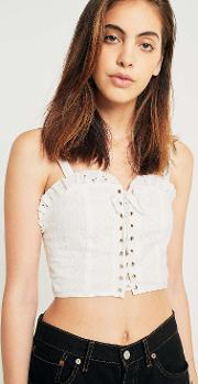 Ecote , Brittney Eyelet Lace Up Bustier Top
