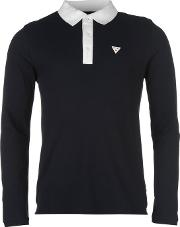 Soviet , Contrast Long Sleeve Polo Shirt Mens