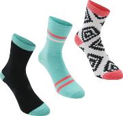 Rock And Rags , And Rags 3 Pack Aztec Ankle Socks