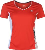 Fila , Tela Tennis T Shirt Ladies