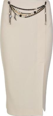 Moschino Cheap And Chic , Pearl Chain Pencil Skirt