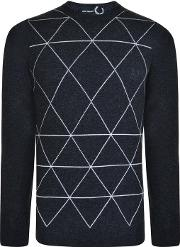 Fred Perry X Raf Simons , Printed Crew Neck Sweater