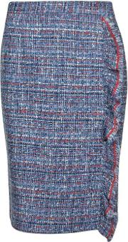 Boutique Moschino , Tweed Frill Pencil Skirt