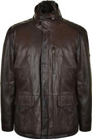 Trapper , Faux Fur Collar Leather Jacket