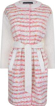 Boutique Moschino , Boucle Tweed And Lace Coat