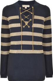 Michael Michael Kors , Striped Chain Sweater