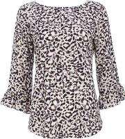 Wallis , Neutral Animal Print Flute Sleeve Blouse