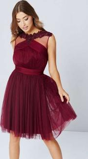 Wallis , Little Mistress Berry Mesh Detail Prom Dress