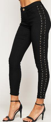 Canvas Lace Up High Waist Skinny Leg Jeans