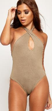 Halterneck Cross Over Keyhole Bodysuit,
