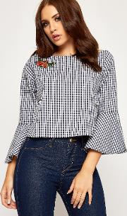 Holly Floral Embroidered Gingham Bell Sleeve Top