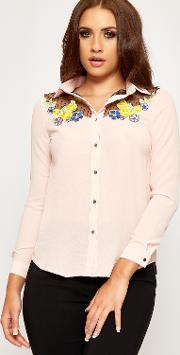 Ruth Floral Embroidered Mesh Long Sleeve Shirt