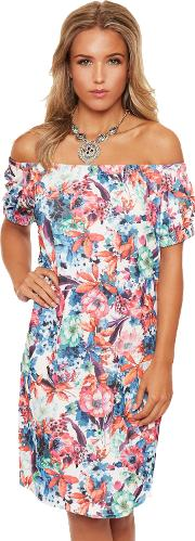 Floral Off Shoulder Slit Top,