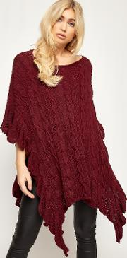 Alaina Cable Knitted Frill Trim Poncho